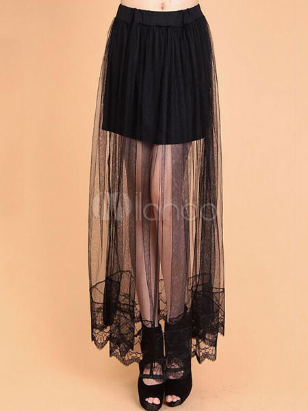 Black Sheer Pleated Long Skirt Summer Botttoms