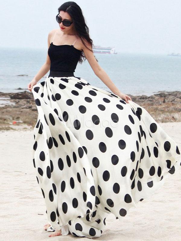Two-Tone Polka Dot Skirt White Maxi Skirt Cheap clothes, free shipping worldwide