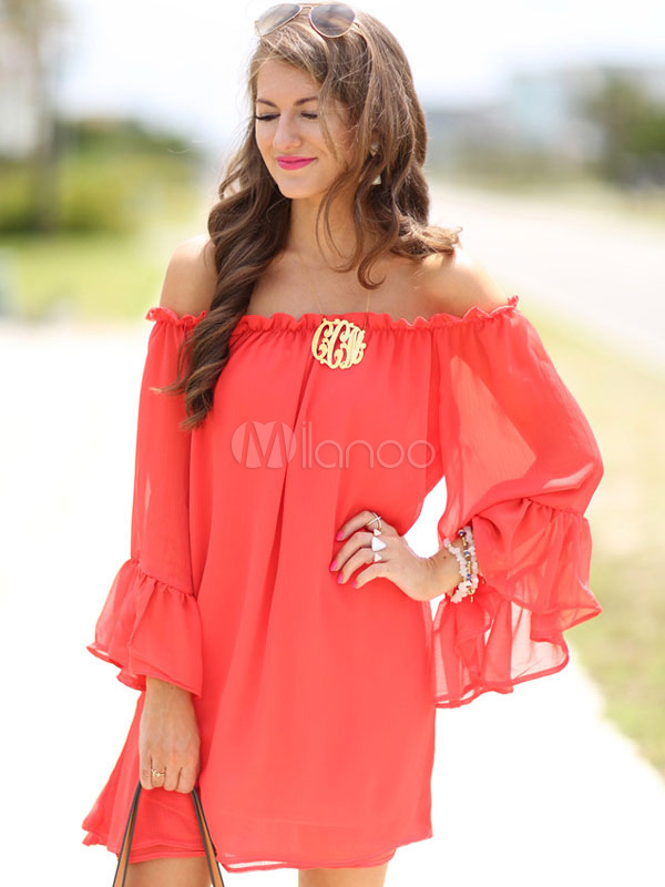 Bateau Pleated Oversized Summer Dress Cheap clothes, free shipping worldwide