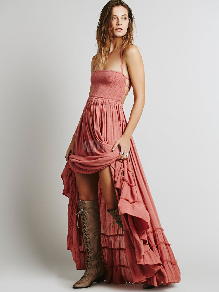 4ab42ad9bbbc4 Boho Maxi Dress 2019 Backless Straps Pink Women Summer Dress-No.1 ...