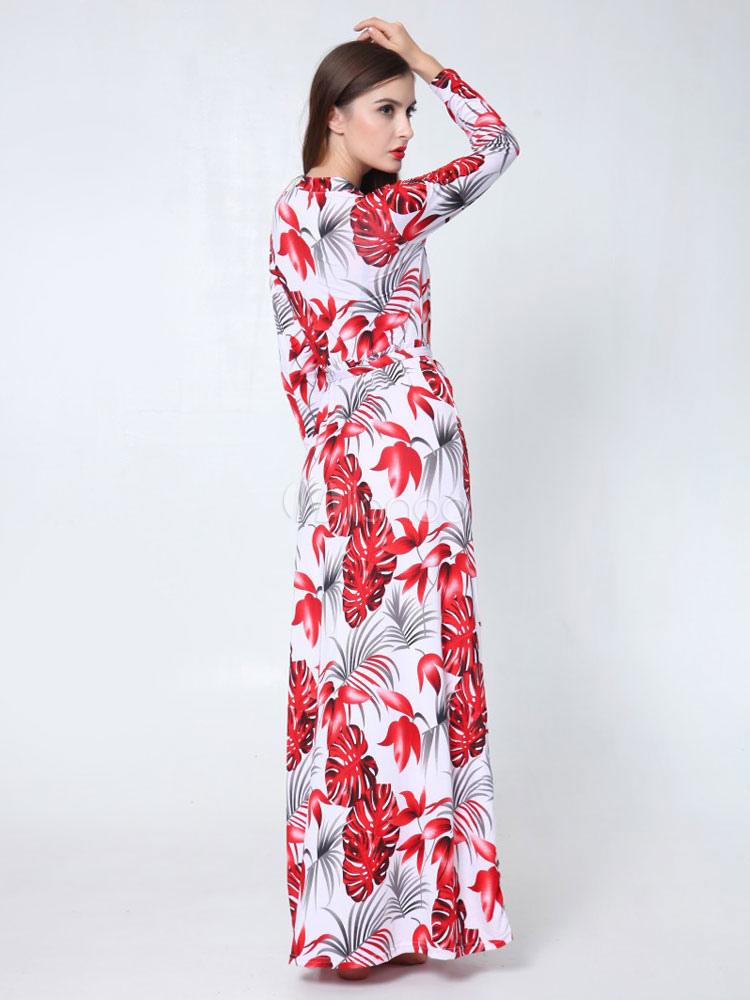 7915766f18c ... Robe rouge longue en rayonne imprimé fleuri convenable col V à  mancherons-No.2 ...