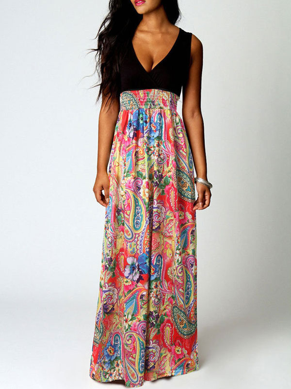 Buy Maxi Summer Dress Women V Neck Sleeveless Paisley Print Beach Long Dress for $18.39 in Milanoo store
