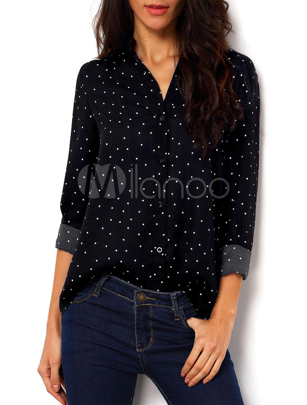 Vintaga Style Black Shirt Polka Dot Chiffon Casual Shirt