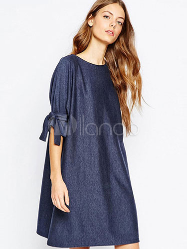 Milanoo / Loose Shift Dress Half Sleeve Plus Size Dress