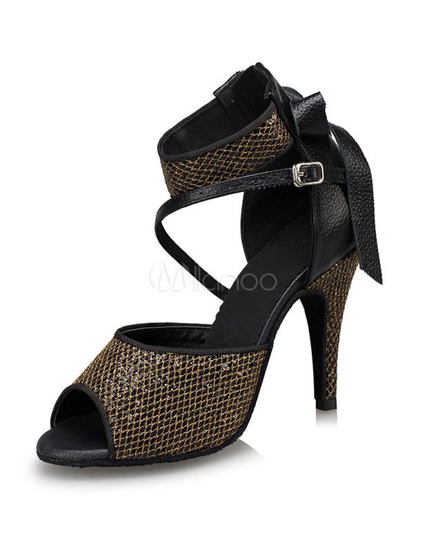 Women's Ballroom Shoes Black Peep Toe Stiletto Dance Shoes