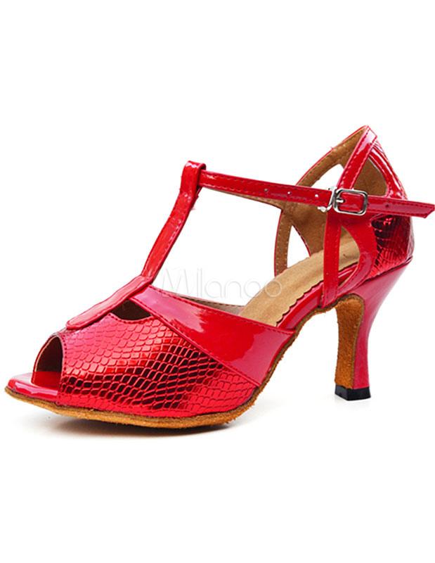 Salón de las mujeres los zapatos Peep Toe zapatos de baile impresión de serpiente ZOYhs8