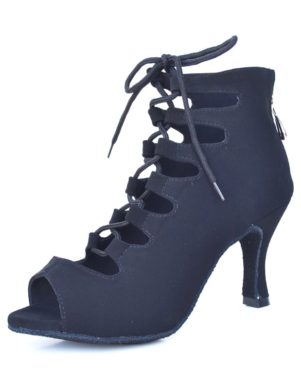 Dance Shoes Lace Up Peep Toe Zipper Strappy Women's Ballroom Shoes