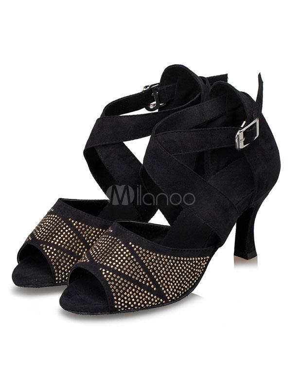 De las mujeres zapatos de diamantes de imitación Peep Toe zapatos de salón de baile OGUssO