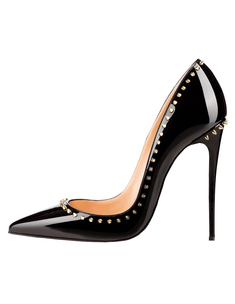 baee0a552c0 Black High Heels 2019 Pointed Toe Dress Shoes Women Rivets Slip On Pumps-No.