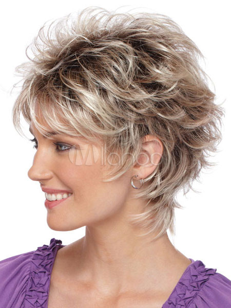 Short Hair Wigs 2018 Silver Tousled Curly Synthetic Wigs For Women