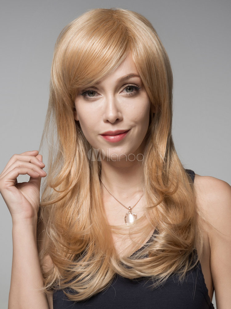 Buy Women's Blonde Side-swept Bangs Human Hair Wigs for $117.75 in Milanoo store