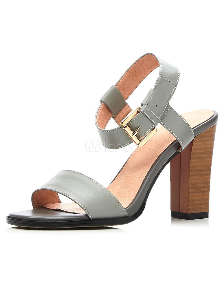 2300b49dc0d Women s Sandals Buckle Slingbacks Wood Grain Chunky Heels - Milanoo.com