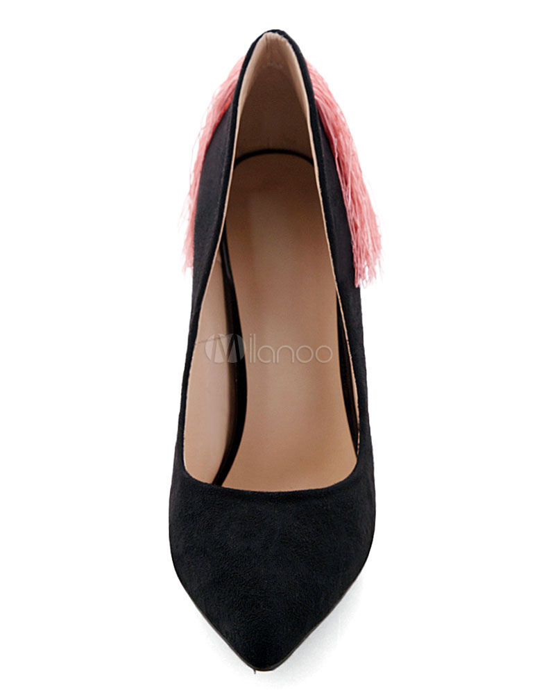 Frente De Tacón Slip Tacones Puntiagudo Zapatos On Flequillo Alto POkn80w