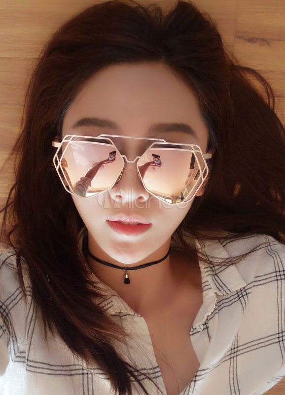 Irregular Frames Cut-outs Colored Lens Sunglasses Cheap clothes, free shipping worldwide