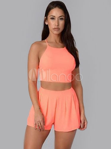 Straps Cross Back 2-piece Shorts Cheap clothes, free shipping worldwide