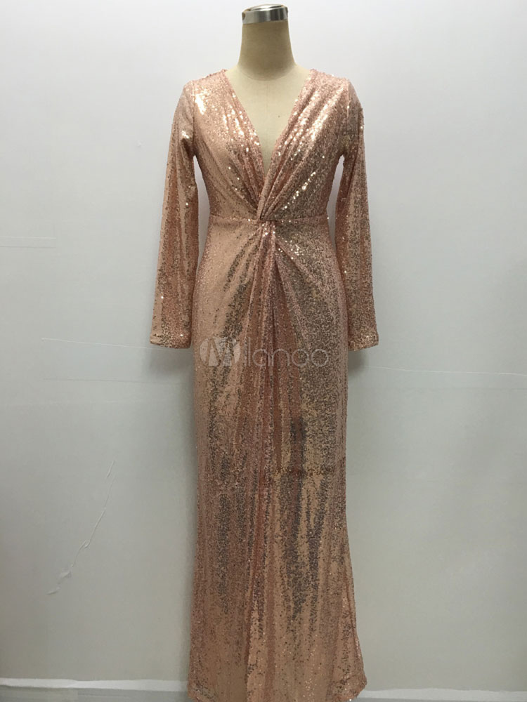 04db805bffd ... Maxi Robe col en v manches longues paillettes robe de Cocktail-No.2 ...