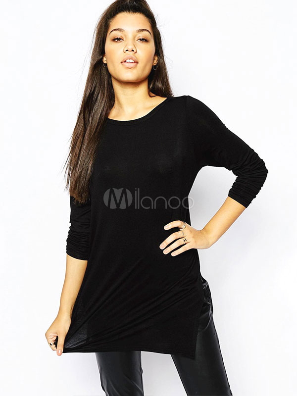 Buy Sexy Long Sleeves T-shirt With Back Cut Out In Black for $12.74 in Milanoo store