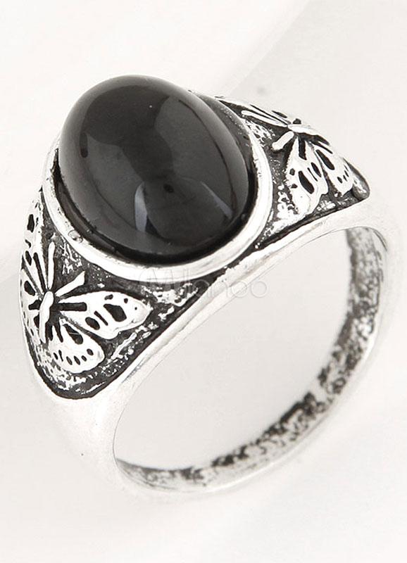 Sliver Gemstone Men's Rings
