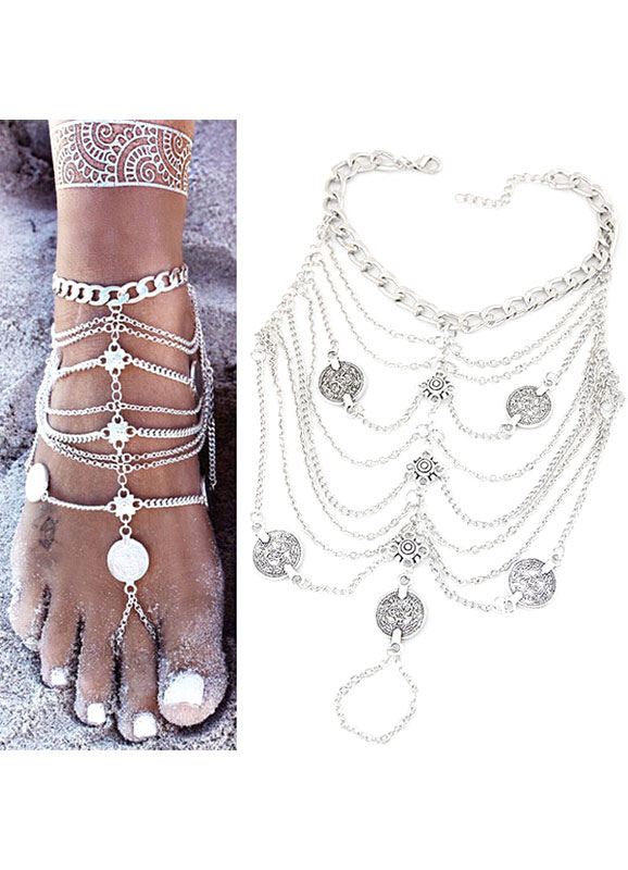 Buy Silver Fringe Coin Beach Anklets for $3.99 in Milanoo store