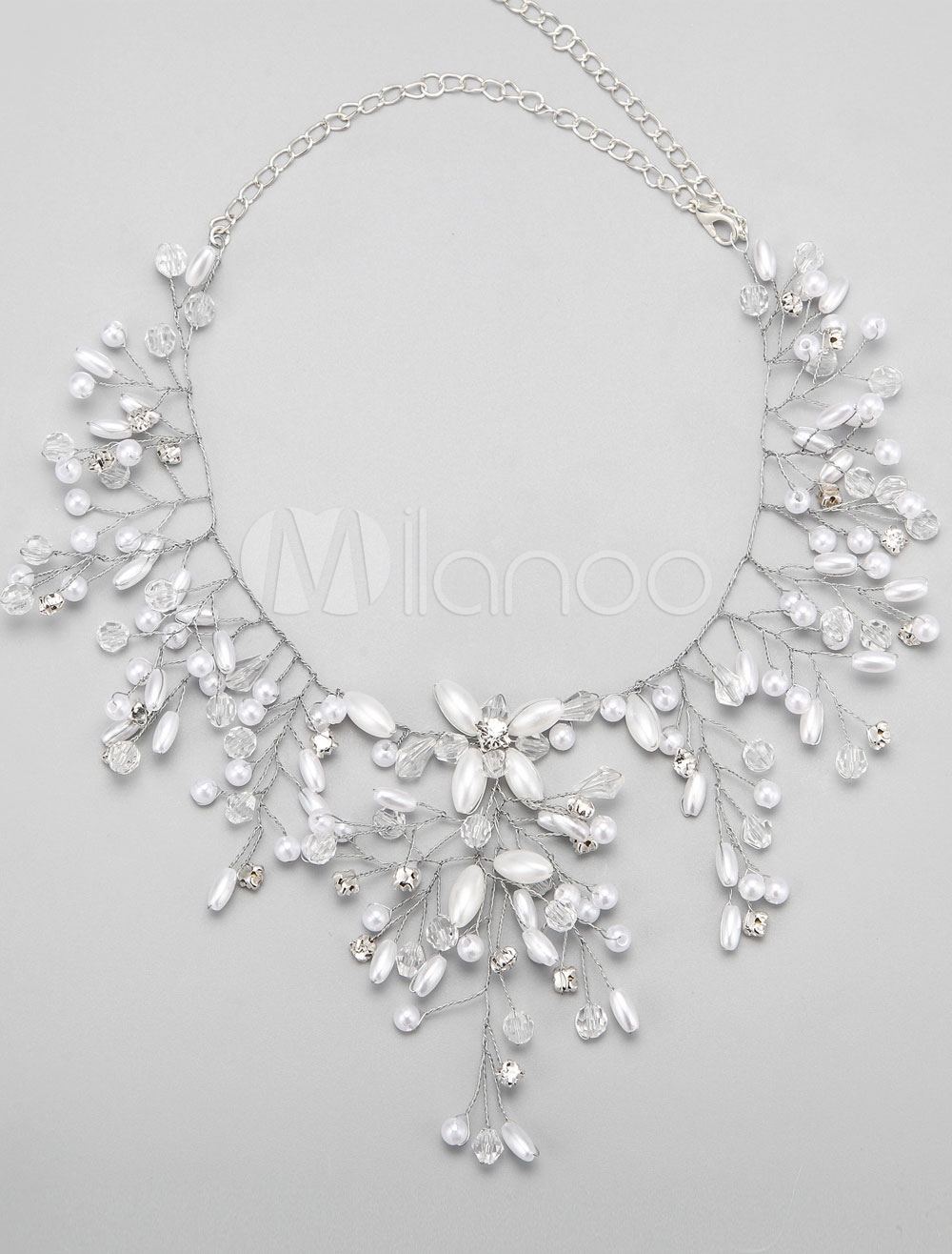 Buy Alloy Wedding Necklace Rhinestone Pearls Decor Bridal Necklace for $16.99 in Milanoo store