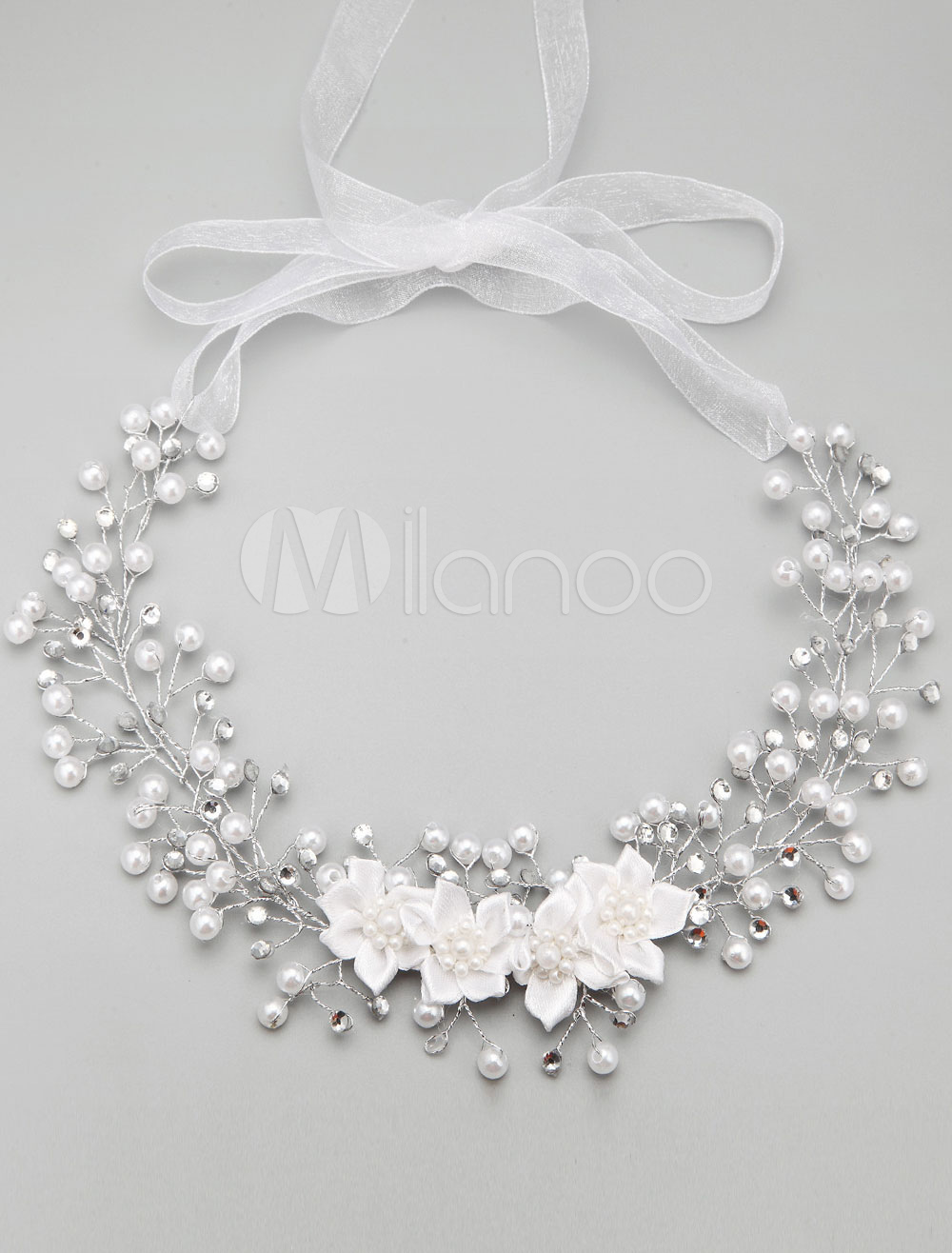 Buy Rhinestone Wedding Necklace Pearls Flower Decoration Bridal Necklace for $14.99 in Milanoo store