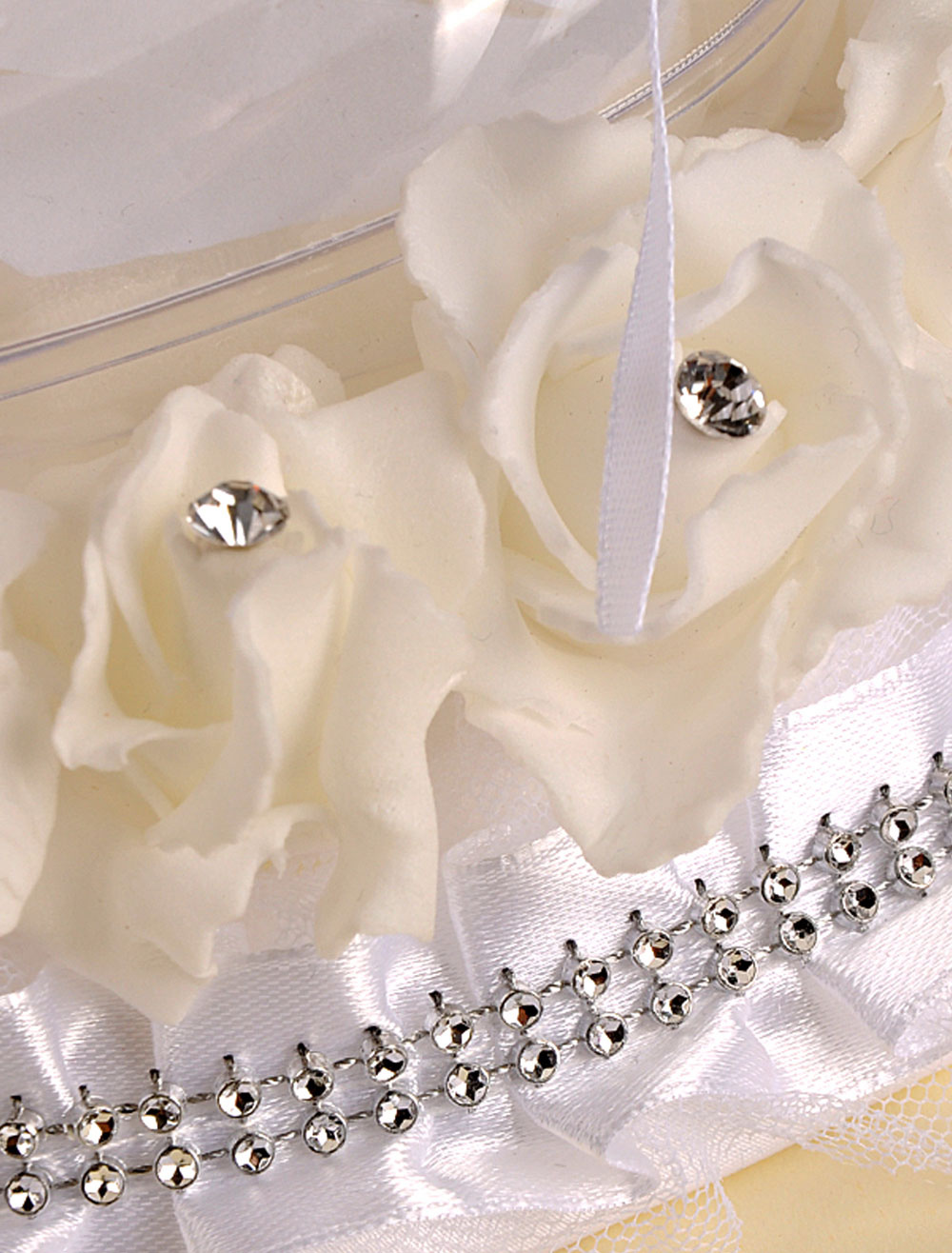 Satin Wedding Pillow Sash Bow Rhinestone Decoration For Wedding Party