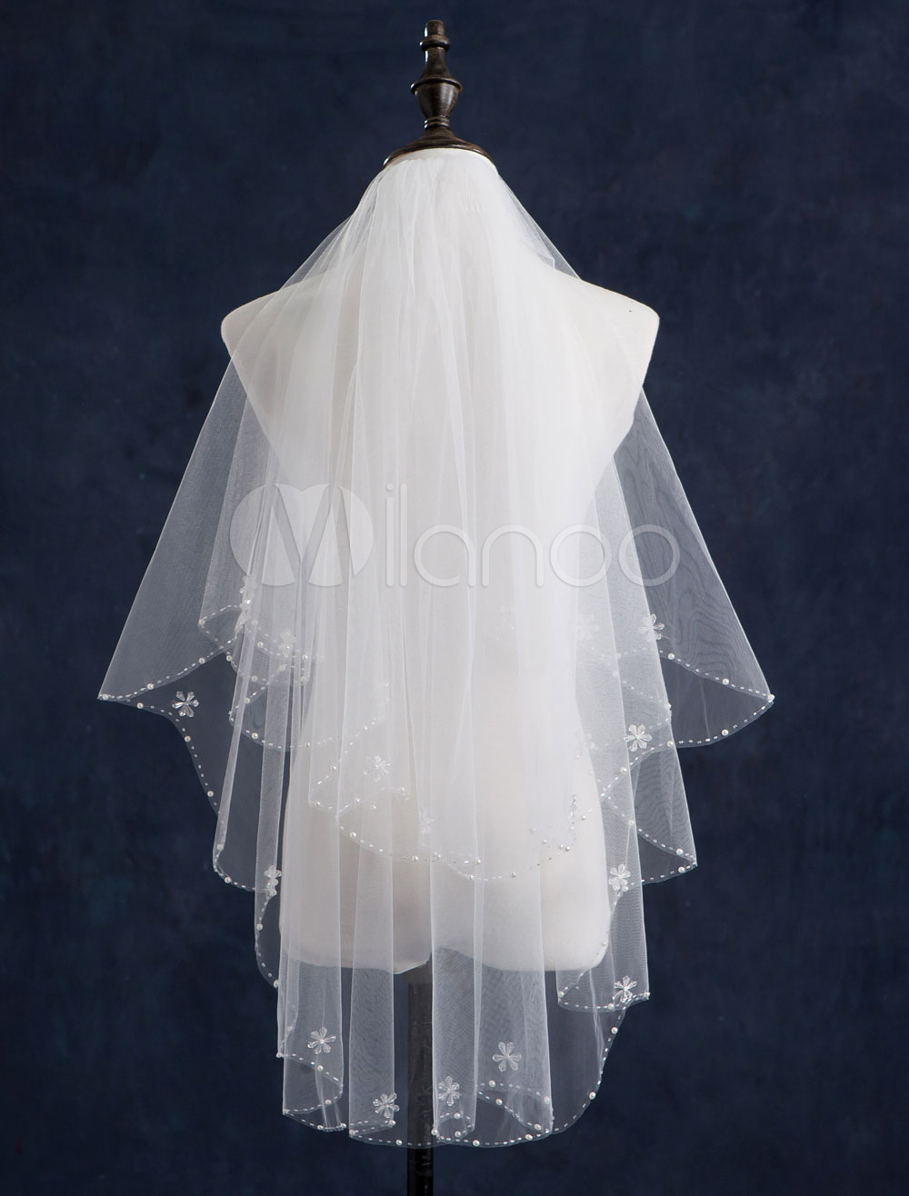 Pearl Wedding Veils Two-Tiered Beaded Edge Classic Shape Bridal Veils with Comb(140*85cm)