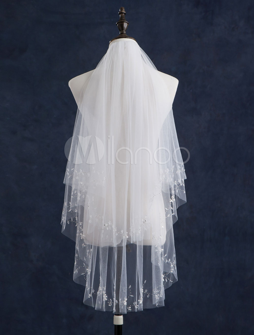 Fingertip Wedding Veils Two-Tiered Tulle Beaded Edge Classic Wedding Veils With Comb(140*85cm)