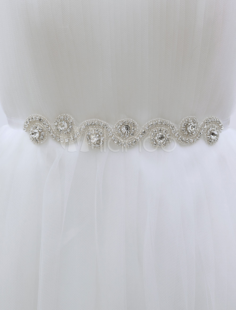 Buy White Wedding Sash Rhinestone Decoration S-Type Bridal Sash for $15.99 in Milanoo store