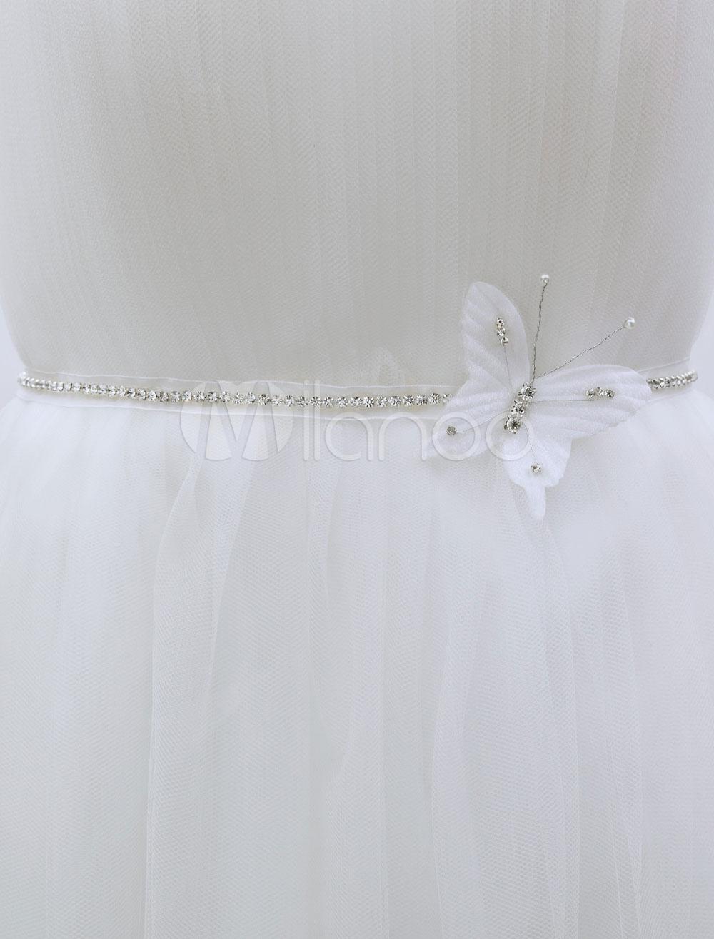 Buy Glitter Wedding Sash White Rhinestone Bow Bridal Sash For Decor for $8.79 in Milanoo store