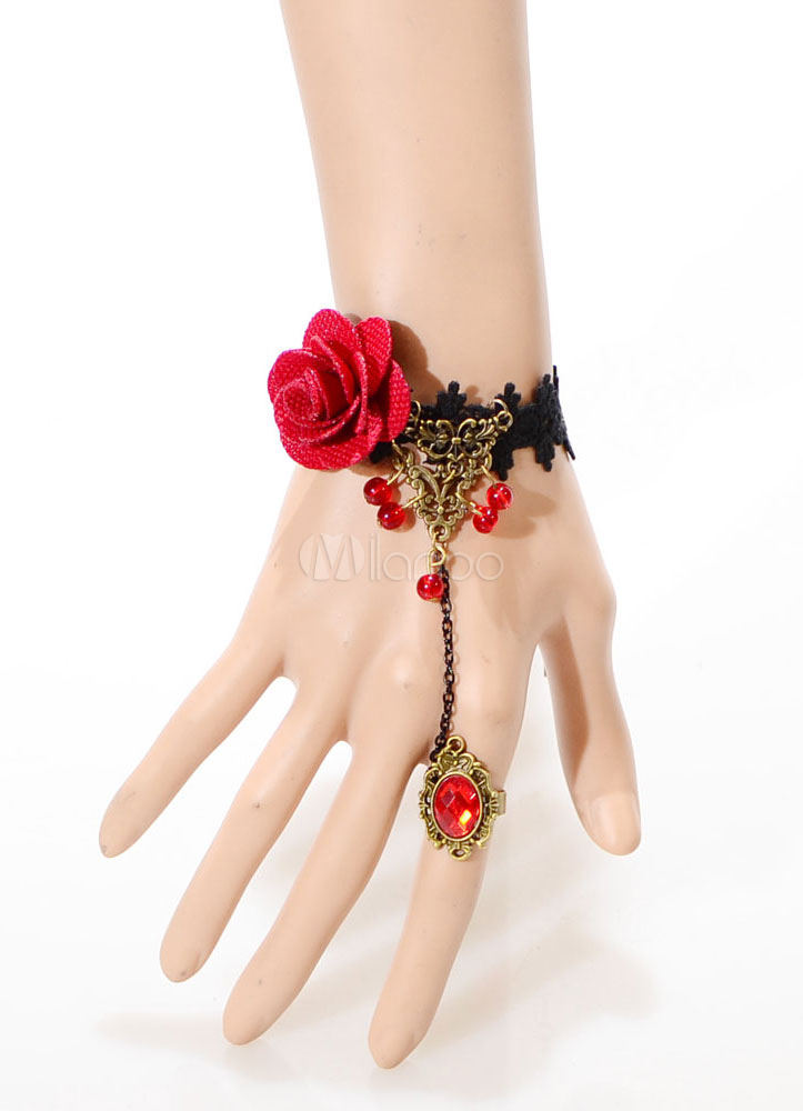 Buy Red Flower Gothic Retro Rings for $3.59 in Milanoo store