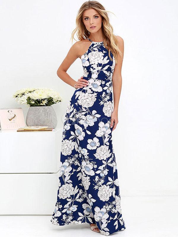 60df0b3e93e Robe maxi à fleurs Robe longue d été imprimée sans dossier pour femmes- ...