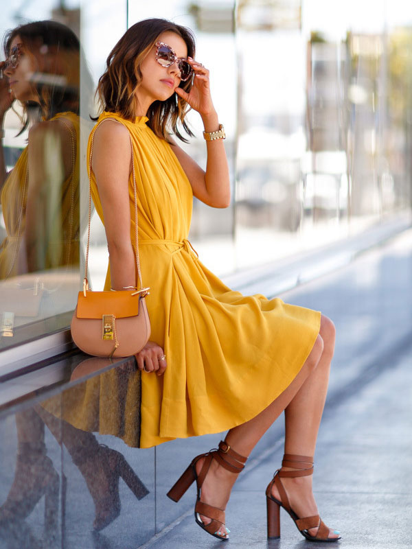 ... Yellow Summer Dress Solid Color Sleeveless Ruffles Acetate Women s ... f2843c76a