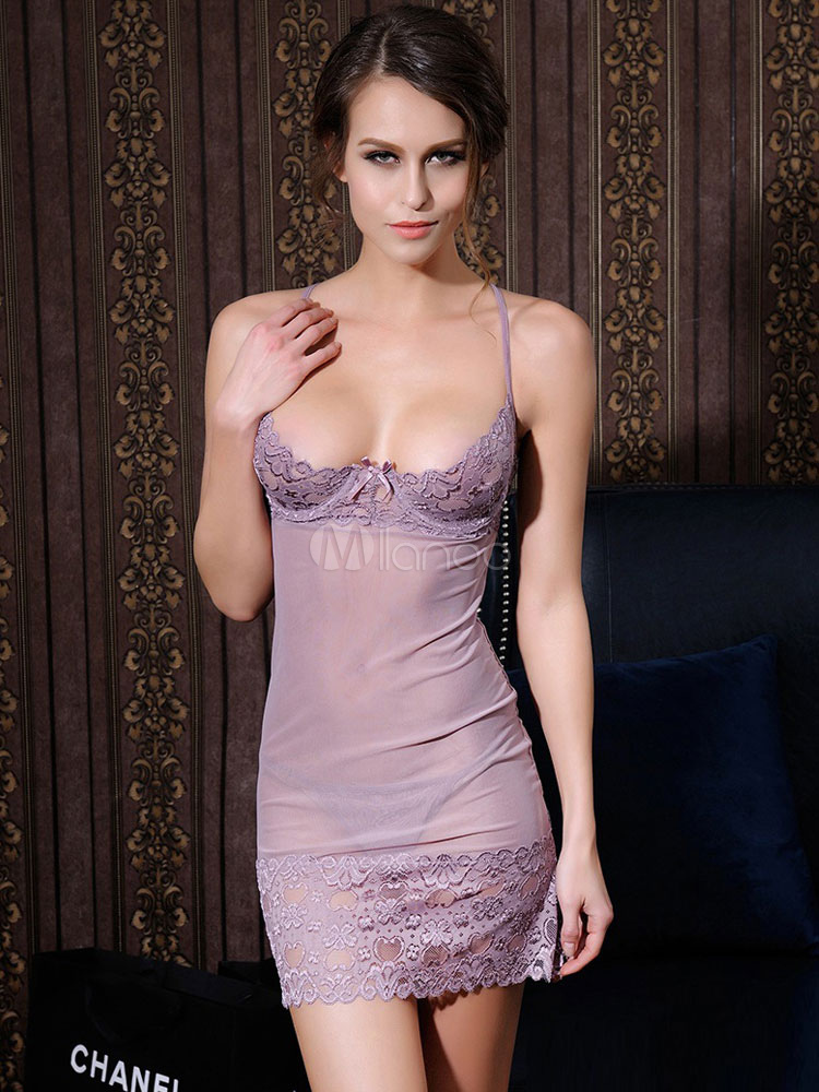 Lace Sexy Babydoll Nightdress Sheer Slip Lingerie Cheap clothes, free shipping worldwide