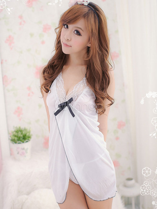 White Backless Babydolls Women's Lace Tulle Sheer Halter Mini Dress And T-back