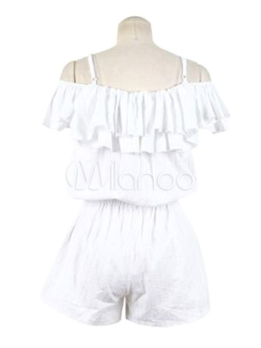 Milanoo / White Romper Strap Cold Shoulder Romper With Ruffles Detail