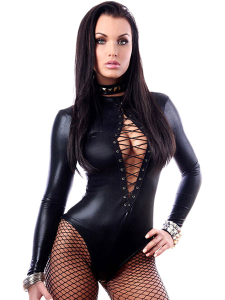 High Collar Long Sleeve Cross Front Bodysuit Cheap clothes, free shipping worldwide