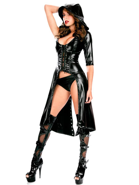 Black Sexy Club Wear PU Cloak And Shorts Set