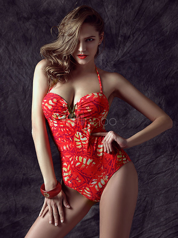 Printed Backless One Piece Swimwear Cheap clothes, free shipping worldwide