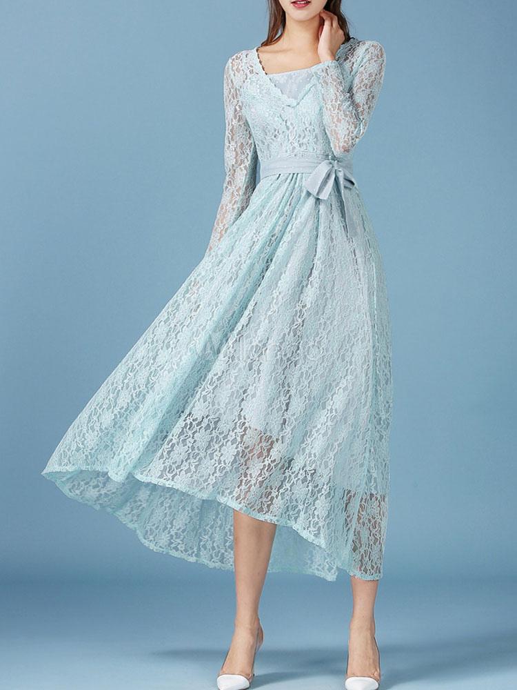 Sommerkleid lang rmellos semitransparente v ausschnitt maxi spitzenkleid f r frauen in blau - Sommerkleid v ausschnitt ...