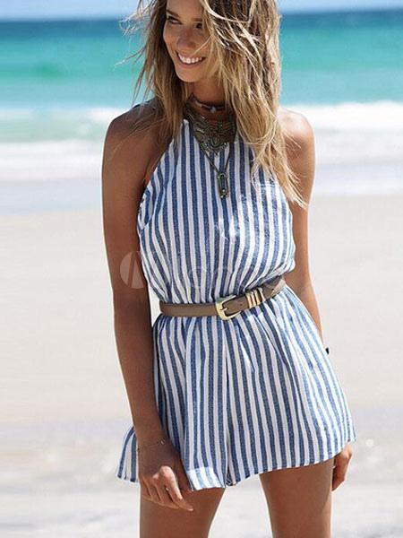 Blue Striped Romper Backless Halter Summer Beach Wear