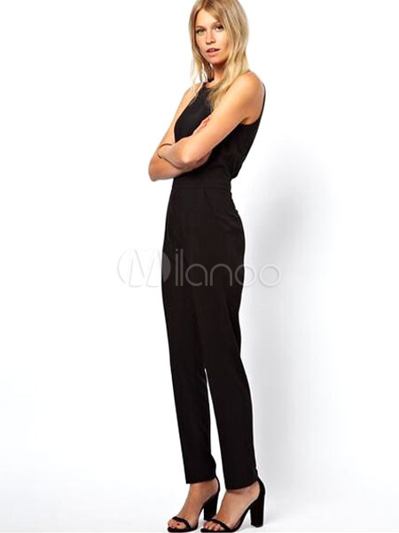 combinaison noire d coupes dos nu sans manches pour femmes. Black Bedroom Furniture Sets. Home Design Ideas