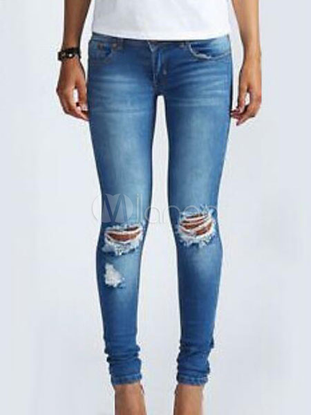 Buy Blue Ripped Jeans Skinny Denim Pants For Women for $26.99 in Milanoo store