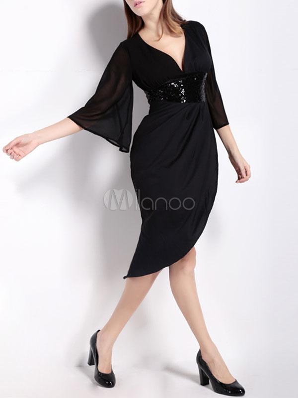 frauen schwarzes kleid kleid mit v ausschnitt halbe rmel. Black Bedroom Furniture Sets. Home Design Ideas