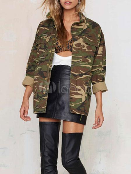 b1af0880 Women Military Jacket Camouflage Long Sleeve Oversized Jacket Zippered  Green Coats