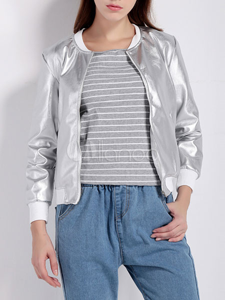 Cool Silver Bomber Jacket For Women