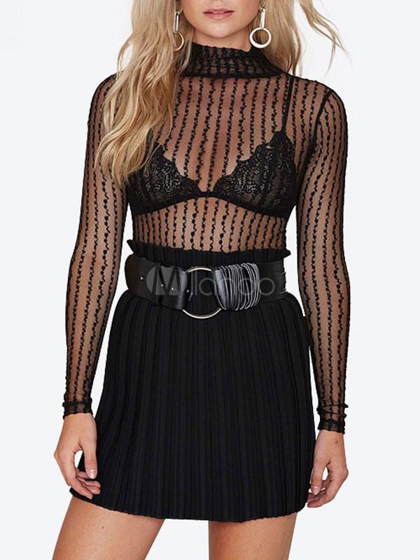 Black Sheer Blouse Sexy Striped Shirt Long Sleeves