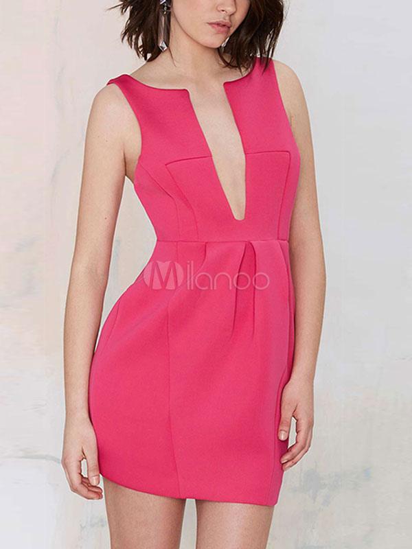 Sumergirse rosa roja vestido sin espalda Sexy vestido de fiesta ...