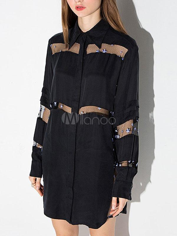 reputable site 23e85 d0f43 Camicia nera inserto trasparente manica lunga Abito fidanzato Shift
