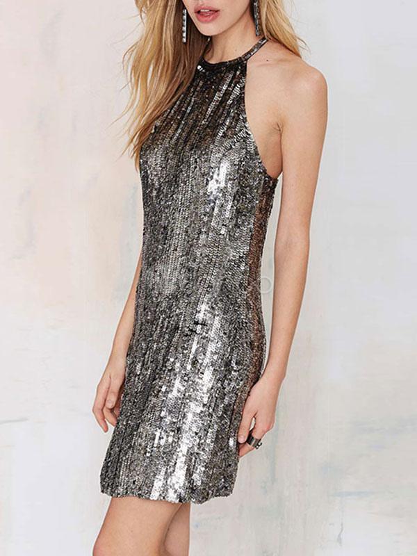 buy online 6fc5d 00e09 Tubini argento con paillettes Abiti corti di donne senza schienale maniche  Cut-outs